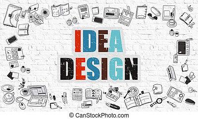 scarabocchiare, idea, multicolor, disegno, brickwall., bianco, style.