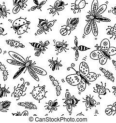 scarabocchiare, insetti, seamless, modello
