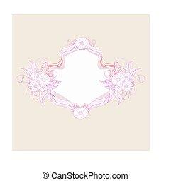 scarabocchiare, organizzato, fiori, decorativo, illustrazione, -, romantico, cornice