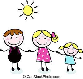 scarabocchiare, padre, -, isolare, famiglia, capretto, madre, bianco