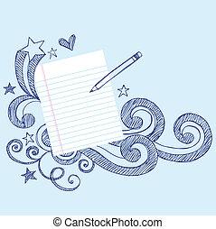 scarabocchiare, pagina, carta, matita, scuola