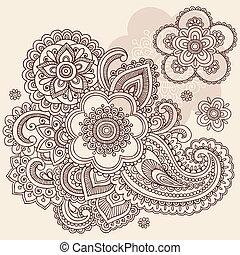 scarabocchiare, paisley, vettore, fiore, henné