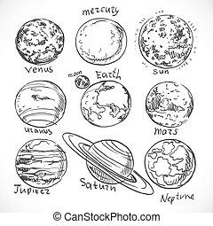 scarabocchiare, pianeti, sistema, sfondo bianco, isolato, solare