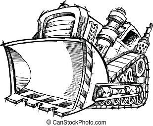 scarabocchiare, schizzo, vettore, arte, bulldozer