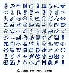 scarabocchiare, scuola, icone