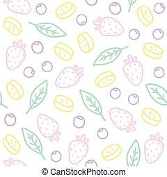 scarabocchiare, seamless, bacche, leafs., modello, frutte