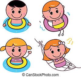 scarabocchiare, set, bambini, felice, nuoto