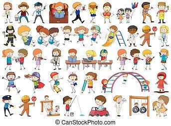 scarabocchiare, set, bambini