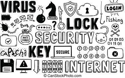 scarabocchiare, sicurezza, vettore, set, internet
