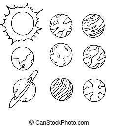 scarabocchiare, sistema, vettore, illustrazione, solare