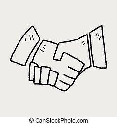 scarabocchiare, stringere le mani