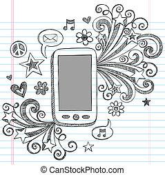 scarabocchiare, telefono cellulare, vettore, disegno, pda