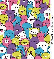 scarabocchiare, versione, creature, colorato, seamless