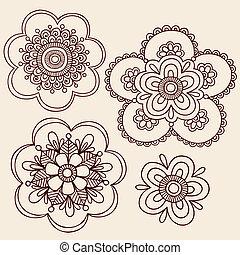 scarabocchiare, vettore, fiore, henné, progetta