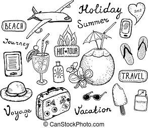 scarabocchiare, viaggiare, elementi, set