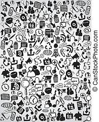 scarabocchiare, web, fondo, icona