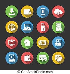 scaricare, simboli, set, icone internet