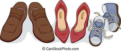 scarpe, famiglia