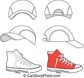 scarpe tennis, berretto, set, baseball, &