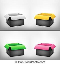 scatola, 3d, nero, variopinto