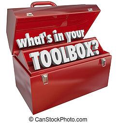 scatola, abilità, è, metallo, esperienza, tuo, toolbox, attrezzo, rosso