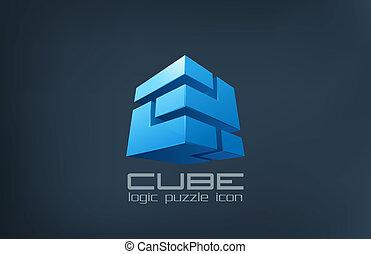 scatola, abstract., cubo, puzzle, logica, logotipo, icon., tecnologia