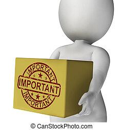 scatola, alto, prodotto, esposizione, consegna, importante, significativo, priorità
