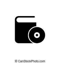 scatola, appartamento, dvd, cd, vettore, icona
