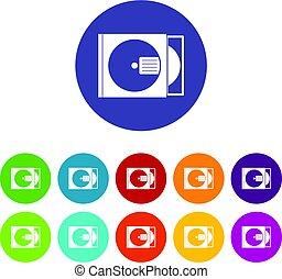 scatola, appartamento, set, icone, cd, vettore, disco