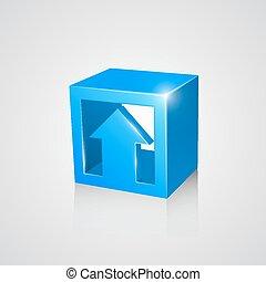 scatola, arrow., blu