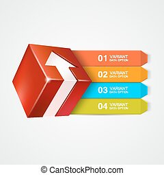 scatola, arrow., concept., vettore, infographics