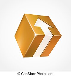 scatola, arrow., tridimensionale