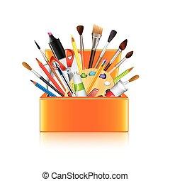 scatola, arte, isolato, vettore, provviste, bianco