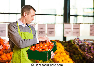 scatola, assistente, presa a terra, mercato, pomodori