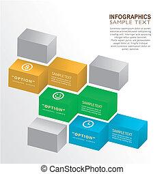 scatola, astratto, 3d, infographics