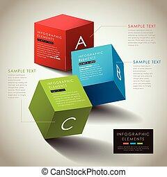 scatola, astratto, vettore, 3d, infographics