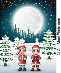 scatola, bambini, santa, regalo, claus, due, fondo, notte, presa a terra, inverno