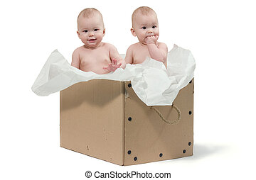 scatola, bambino, gemelli, due