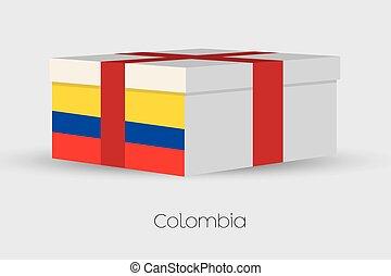 scatola, bandiera, colombia, regalo