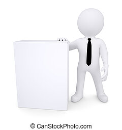 scatola, bianco, 3d, uomo, prossimo