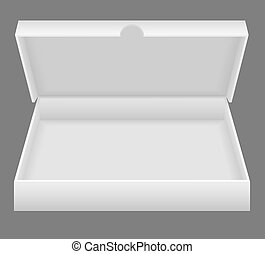 scatola, bianco, aperto, imballaggio, illustrazione