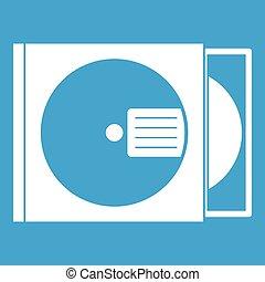 scatola, bianco, disco, icona, cd