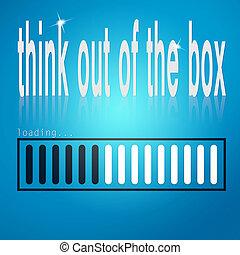scatola blu, caricamento, sbarra, parola, pensare, fuori