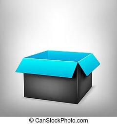 scatola blu, nero, 3d