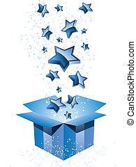scatola blu, regalo, stars.