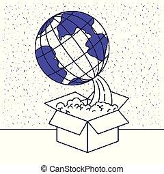 scatola blu, silhouette, globo, fondo, venuta, terra, bianco fuori