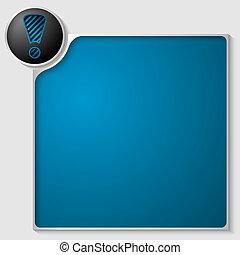scatola, blu, testo, marchio, esclamazione, qualsiasi, argento