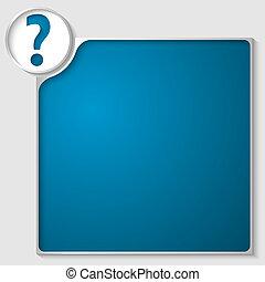 scatola, blu, testo, punto interrogativo, qualsiasi, argento