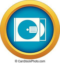 scatola, blu, vettore, isolato, disco cd, icona