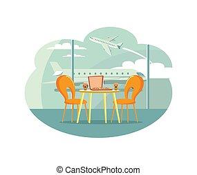 scatola, caffè, aeroporto, tavola, caffè, pizza
